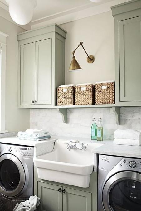 Green Laundry Room with Farmhouse Sink