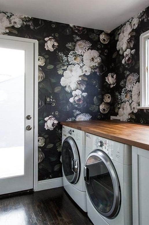 Sarah Sherman Samuel Floral Wallpaper Laundry Room