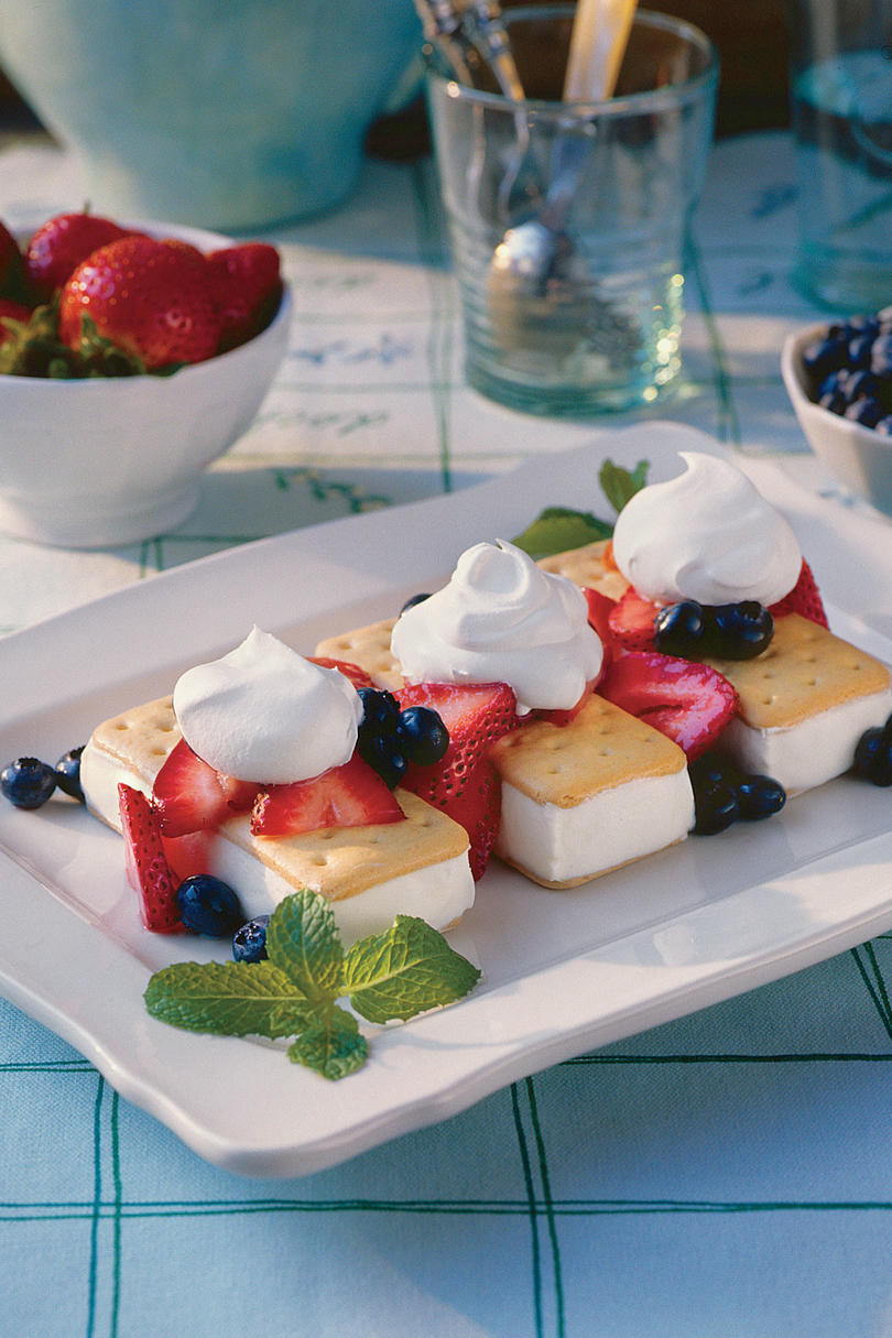 Strawberry-Blueberry Shortcake Ice Cream Sandwiches