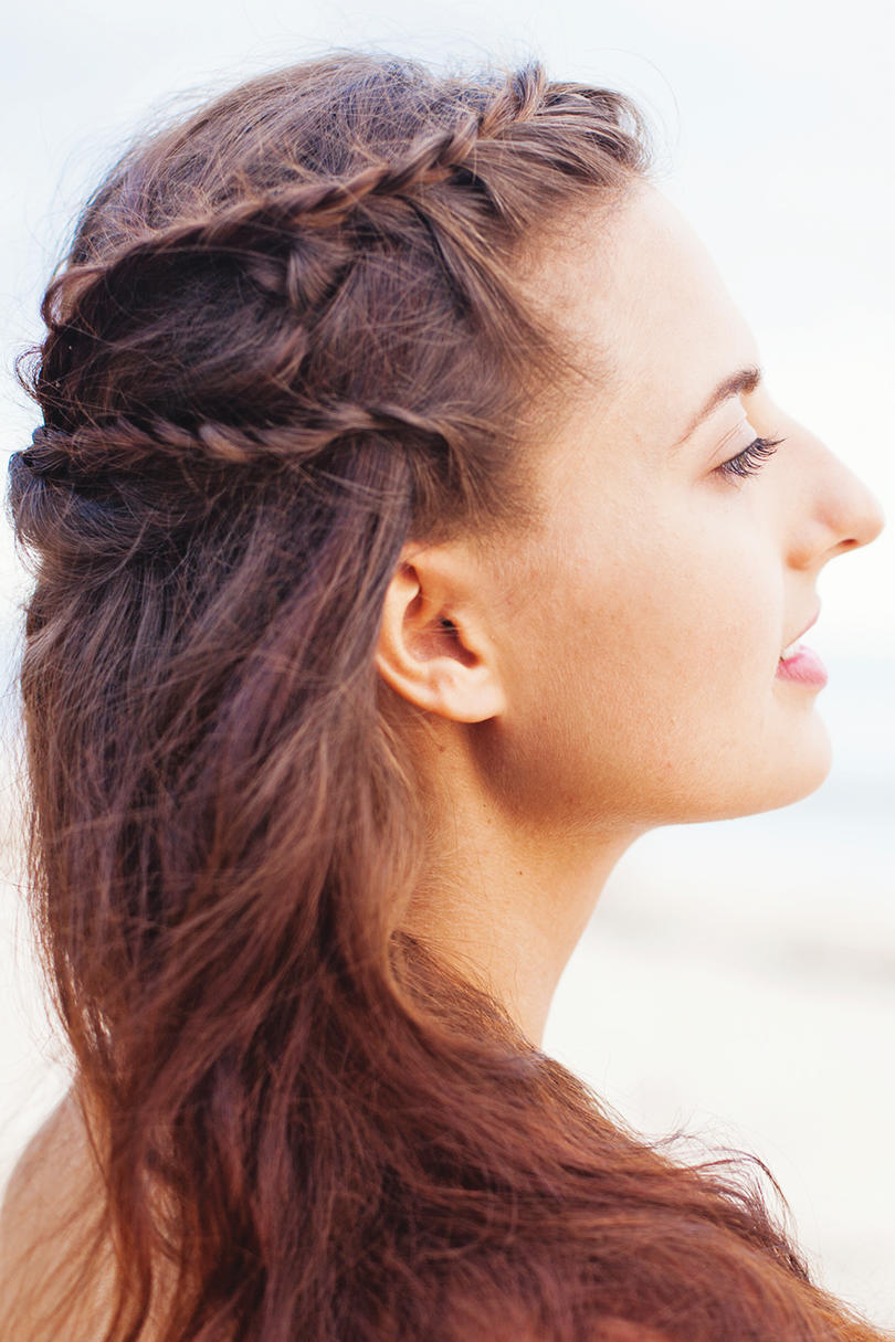 4th of July Hairstyle Grecian flowing braid