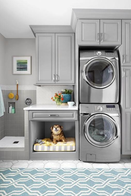 Gray Laundry Room With Dog Bed