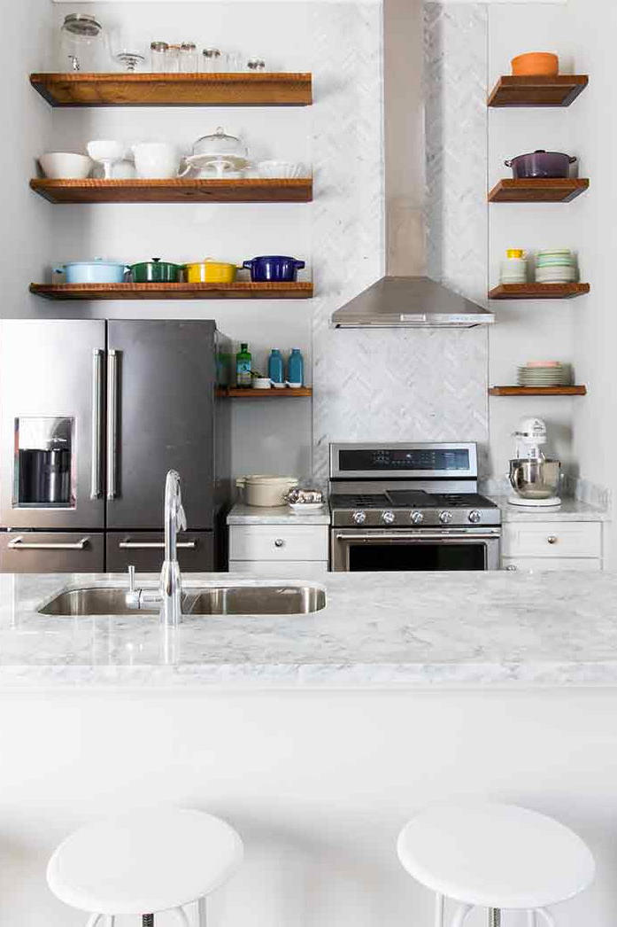 White Kitchen with Wood Shelves