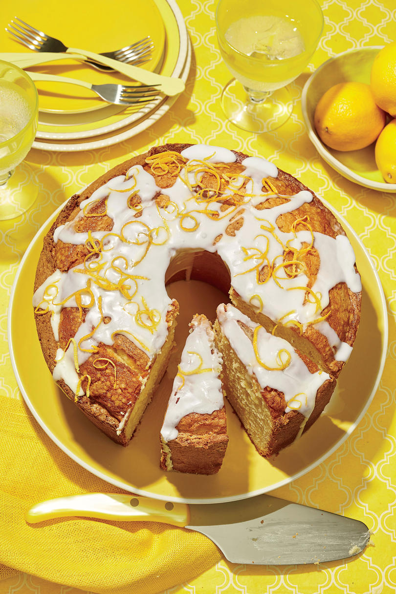 Lemon-Vanilla Pound Cake with Lavender Glaze