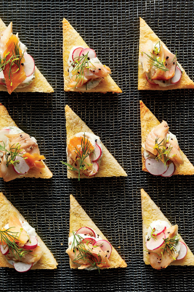 Smoked Trout Crostini with Radishes and Dill Cream