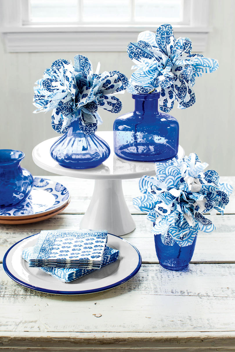 Blue and White Paper Napkin Flowers