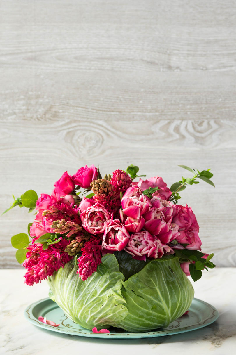 Cabbage Centerpiece with Pink Flowers