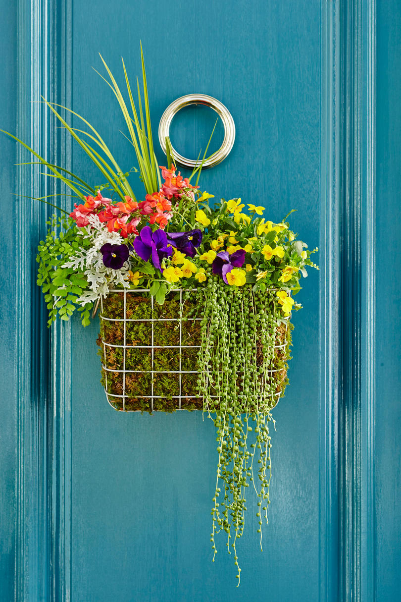 Colorful Basket Door Wreath with Flowers & 3 DIY Spring Wreaths That Will Brighten Your Door - Southern Living