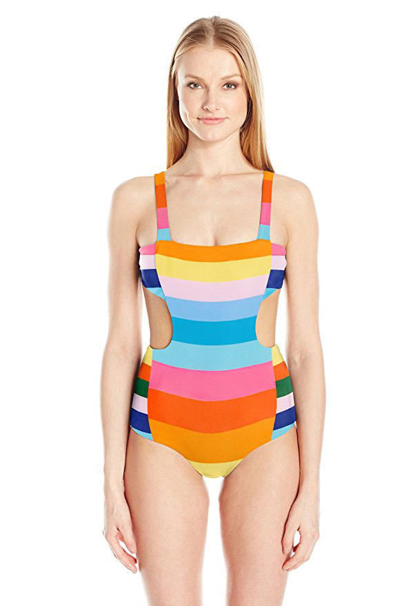 Striped Cut-Out Swimsuit