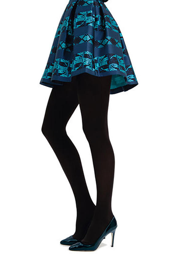 Blue Skirt and Black Tights
