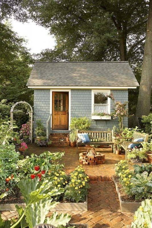 Blue Shingle Garden Shed