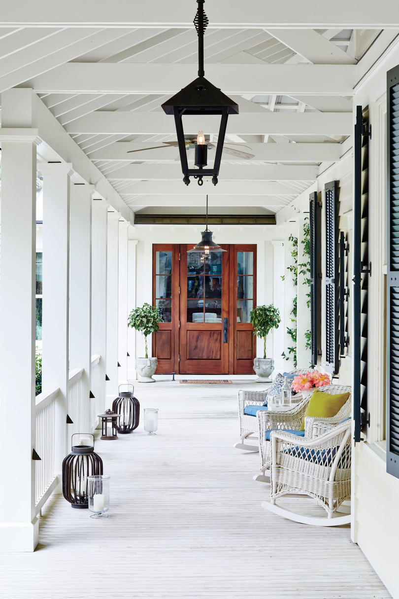 Porch and Entrance with Wood Front Door