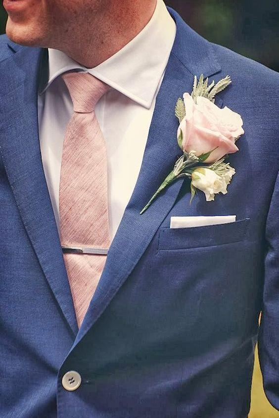 Groom with Blush Accent Pieces