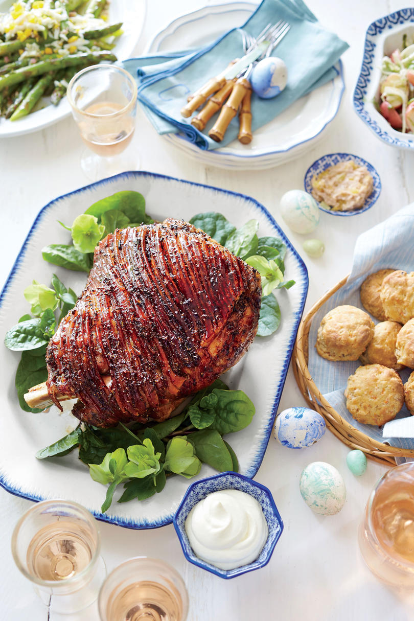Honey-Port Lacquered Ham with Whipped Dijon Cream