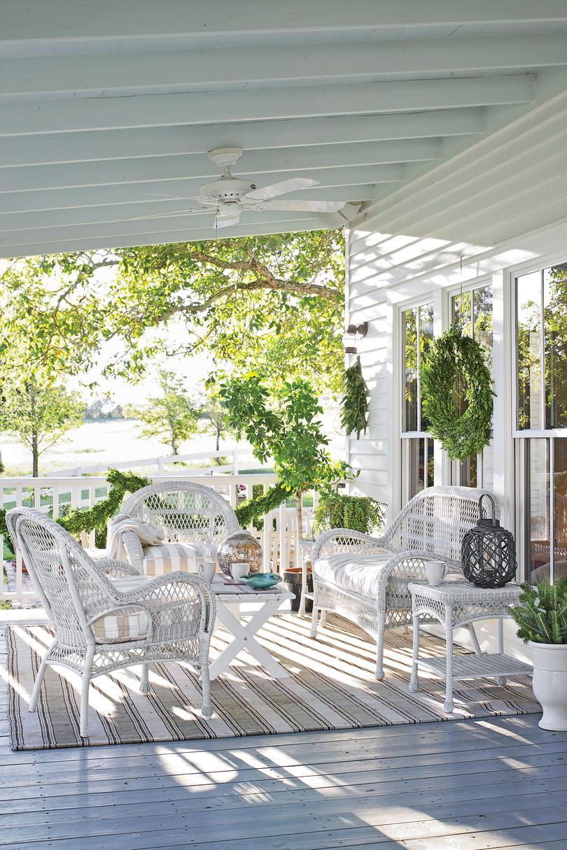 White and Evergreen Porch