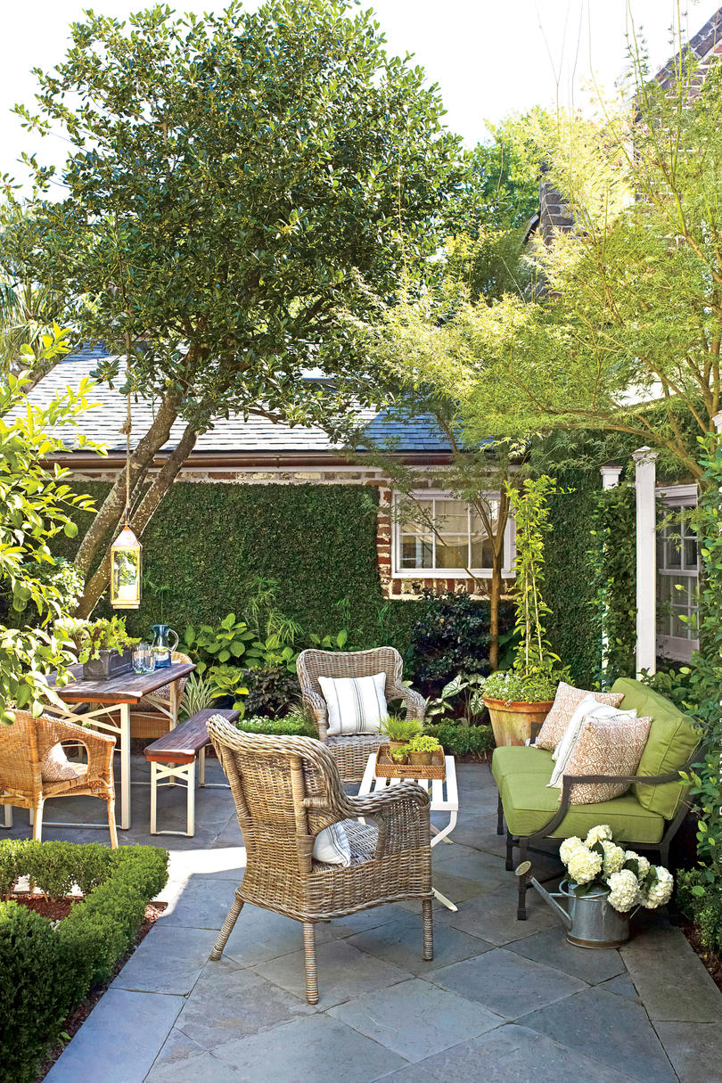 Green and Wicker Stone Courtyard