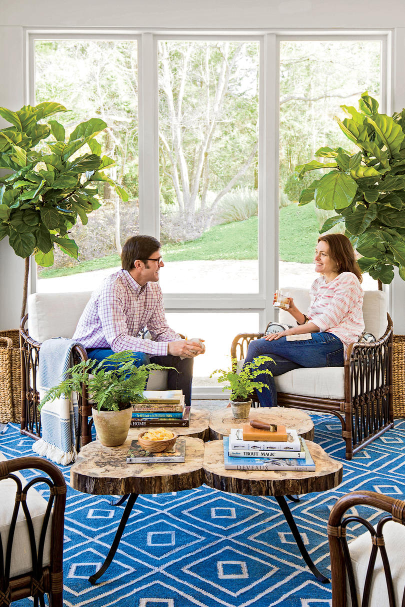 Bright Porch with Fig Trees and Blue Rug