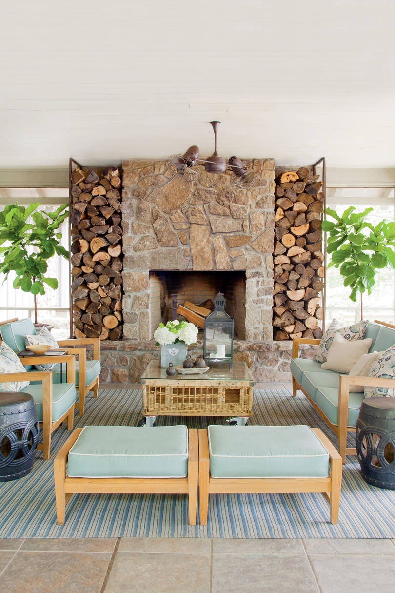 Stone Fireplace Porch Focal Point After