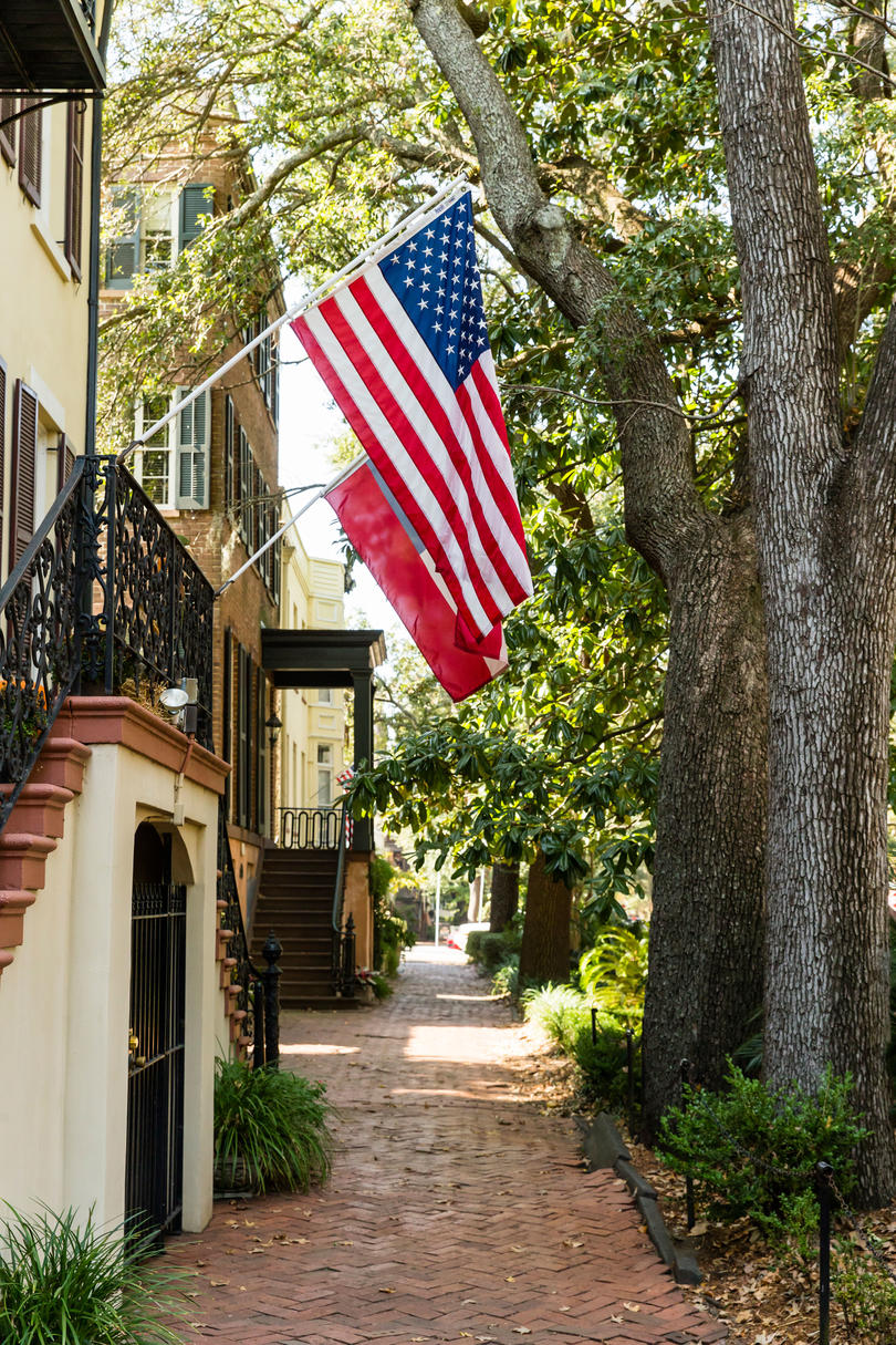 Savannah Alley with American Flag