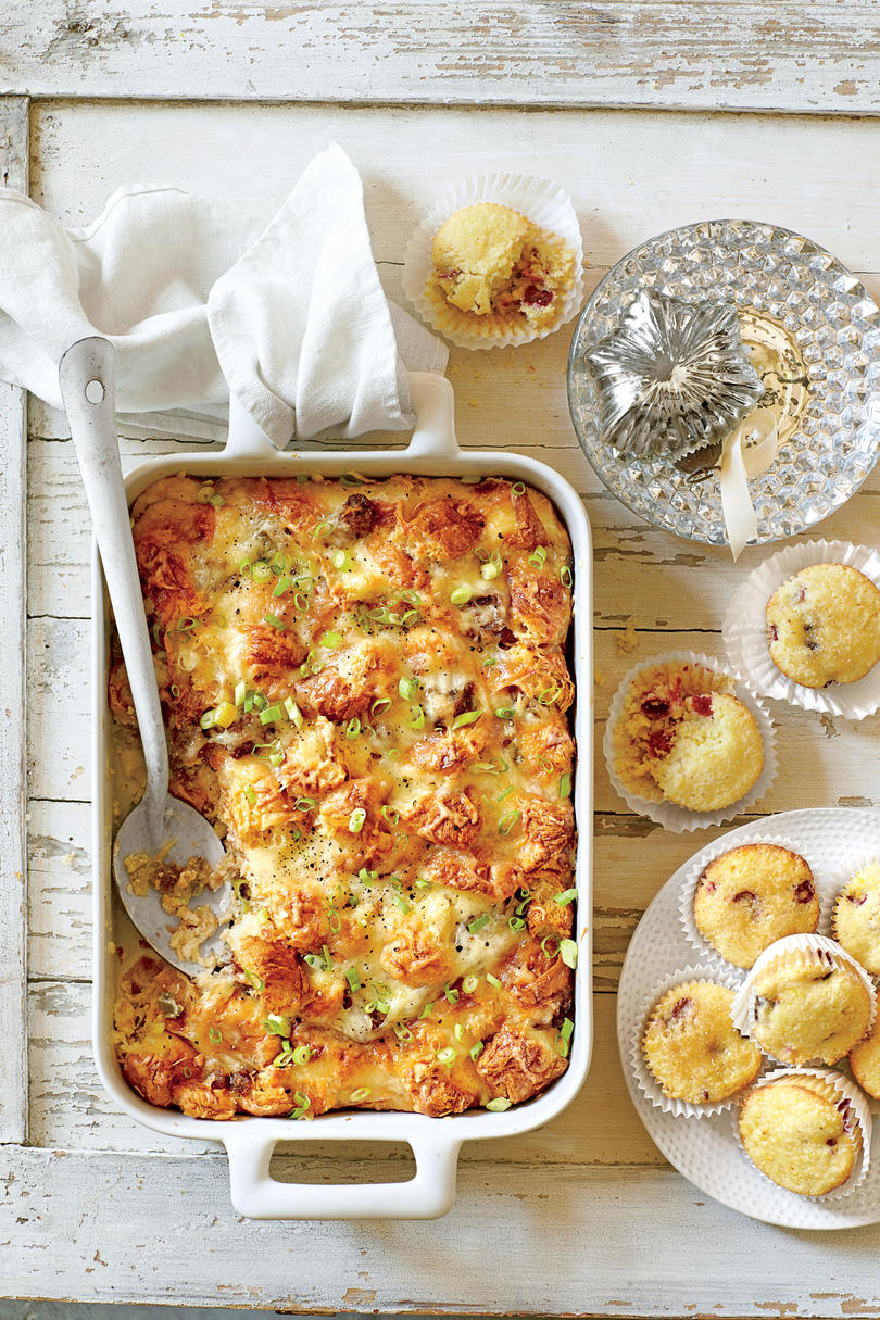 For a Family Brunch: Cheesy Sausage-and-Croissant Casserole
