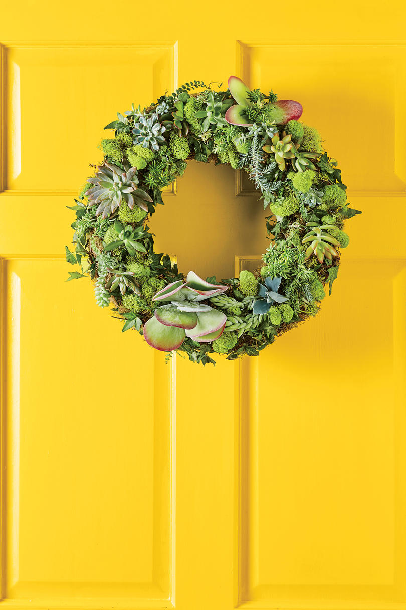 Green Succulent Wreath on Yellow Door