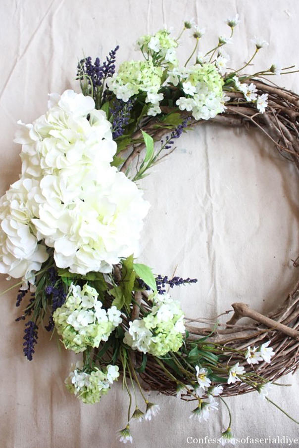 Wooden Wreath With White Hydrangea