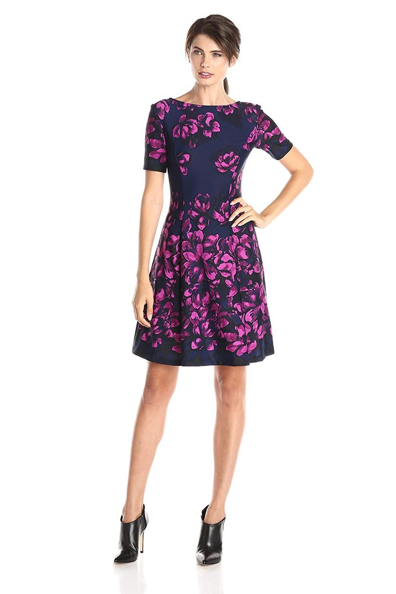 Donna Morgan Women's Short-Sleeve Printed Scuba Dress