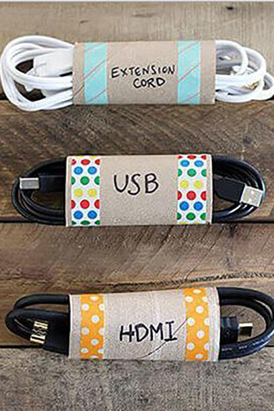 Turn Toilet Paper Rolls into Cord Organizers