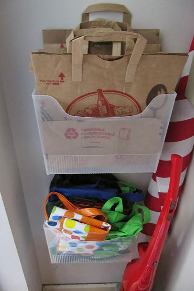 Turn Filing Boxes into Grocery Bag Organizers