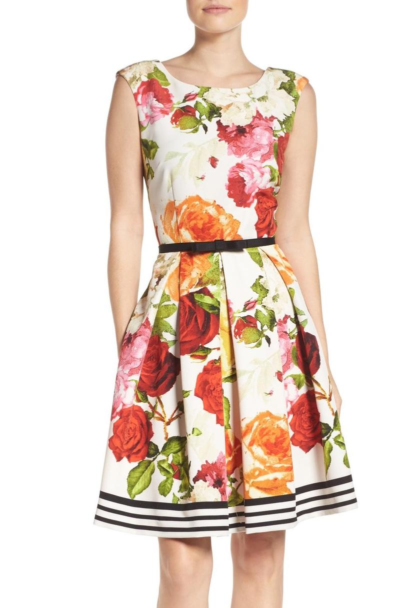 Gabby Skye Floral Fit and Flare Dress