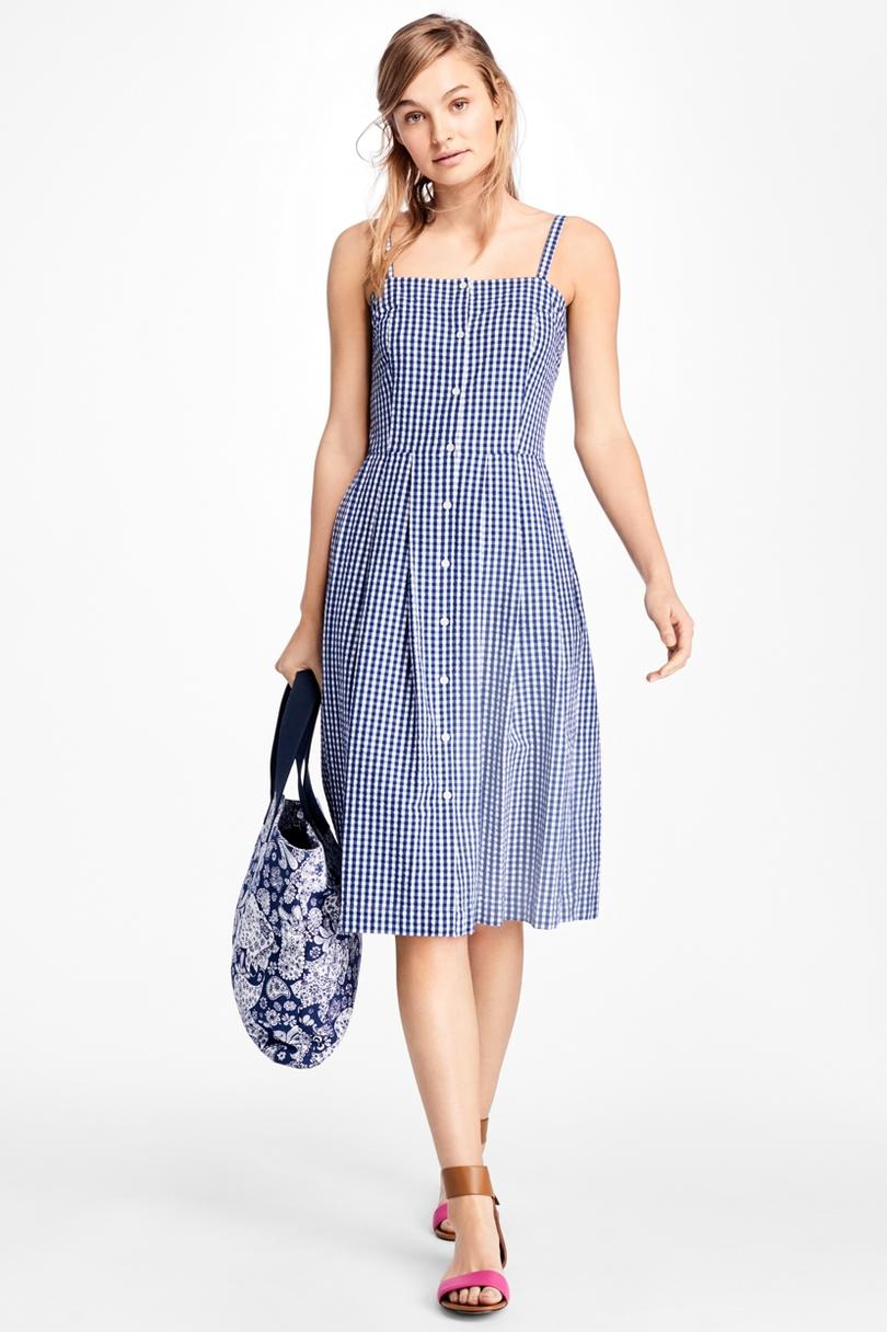 Brooks Brothers Red Fleece Gingham Cotton Poplin Dress