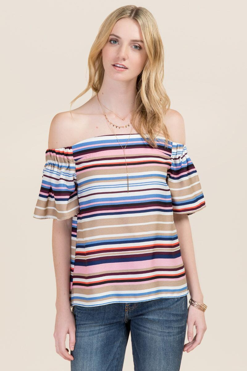 ac67ddbb10ed9 Sandy Stripes. Hazel Off the Shoulder Multi Striped Top