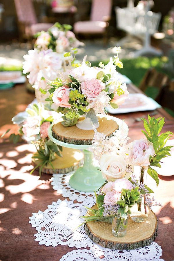 Lace and Wood Wedding Tablescape