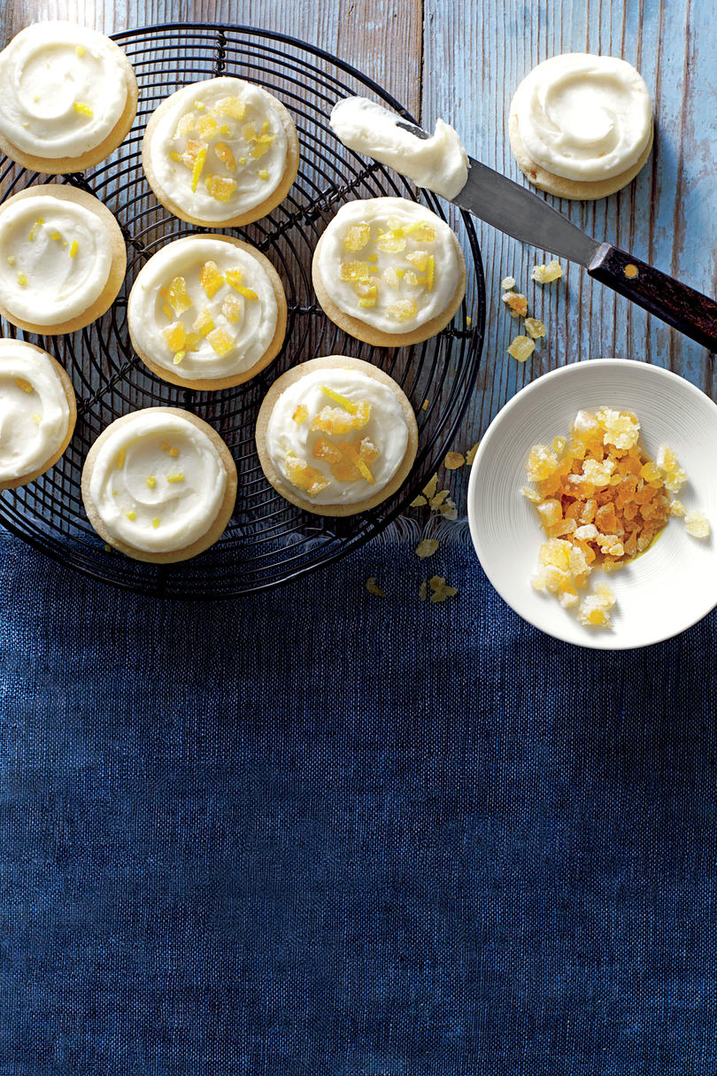 Ginger Shortbread Cookies with Lemon-Cream Cheese Frosting