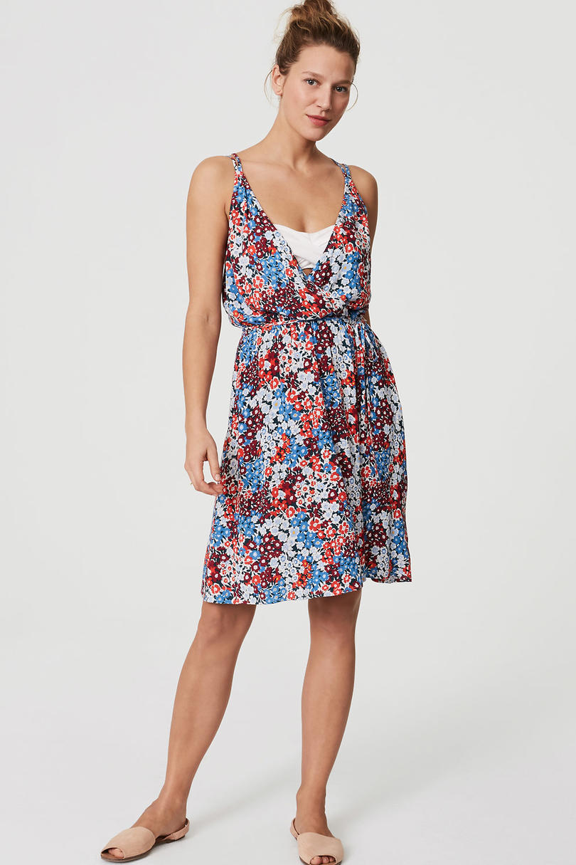 Loft Beach Floral Strappy Wrap Dress