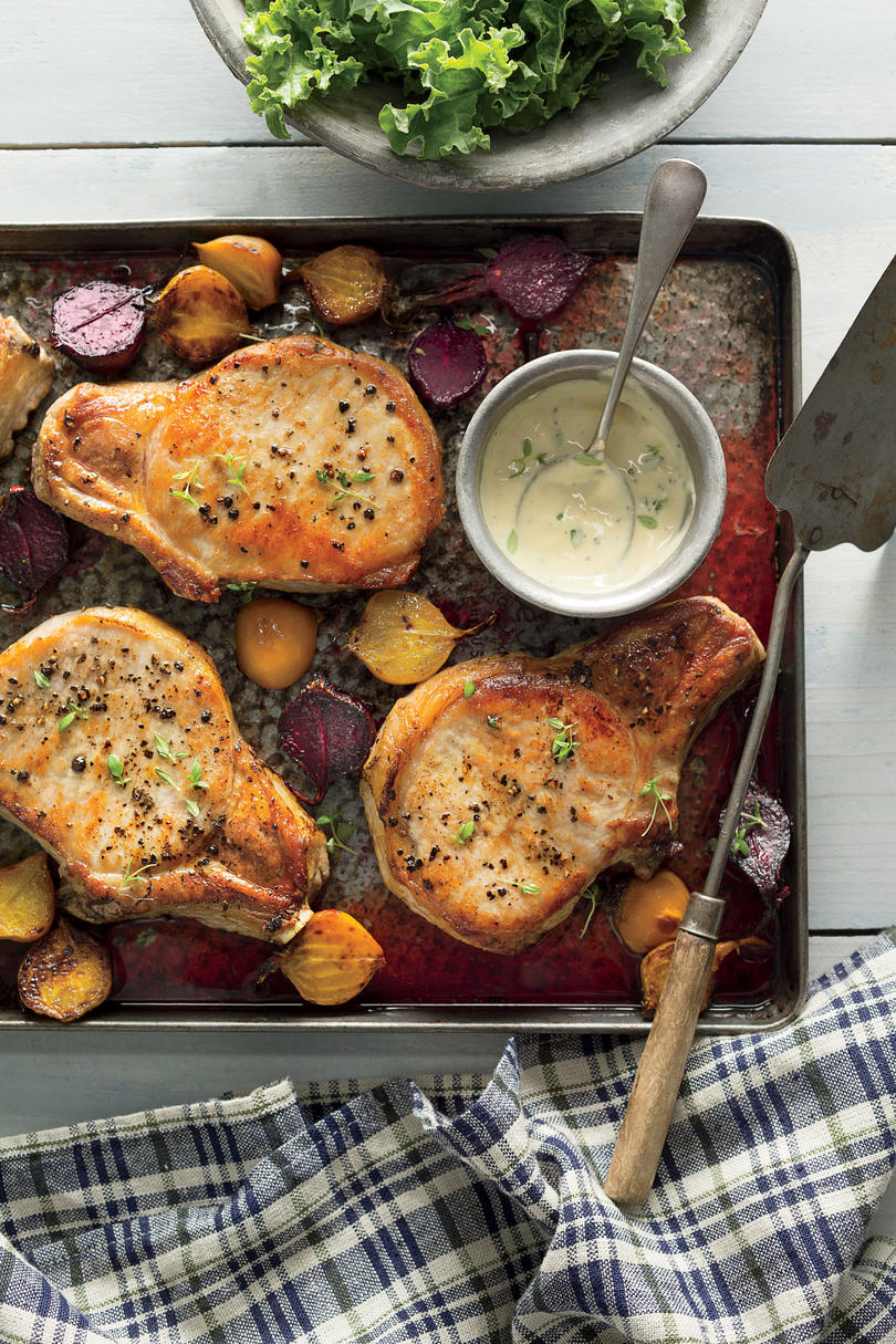 Roasted Pork Chops with Beets and Kale
