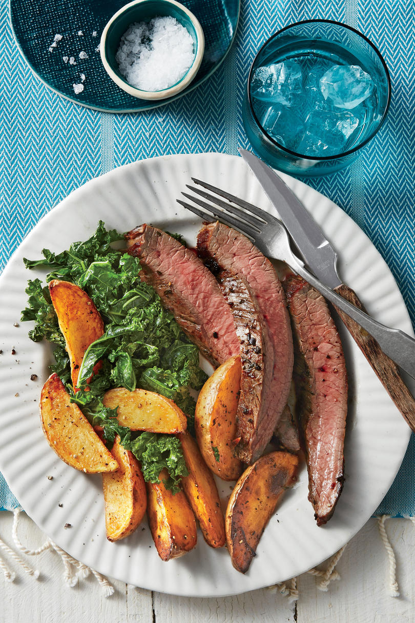 Sheet Pan Flank Steak, Greens, and Yukon Gold Fries