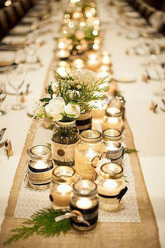 Mason Jars and Burlap Wedding Tablescape