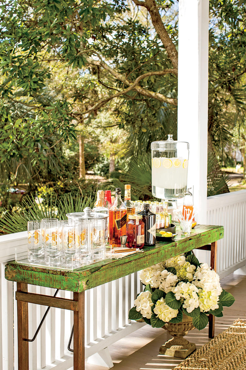 Set up a drink station with a signature cocktail—in batch form.
