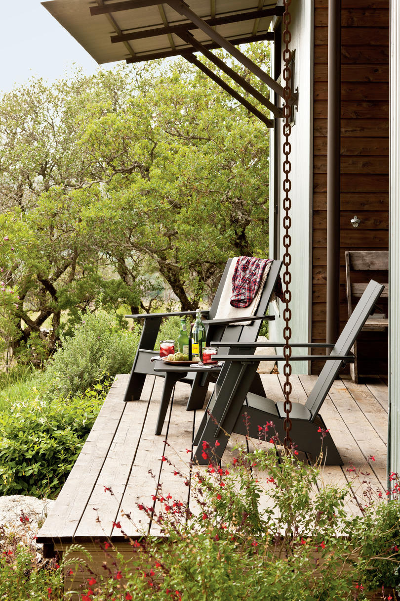 Two Adirondack Chairs on Porch