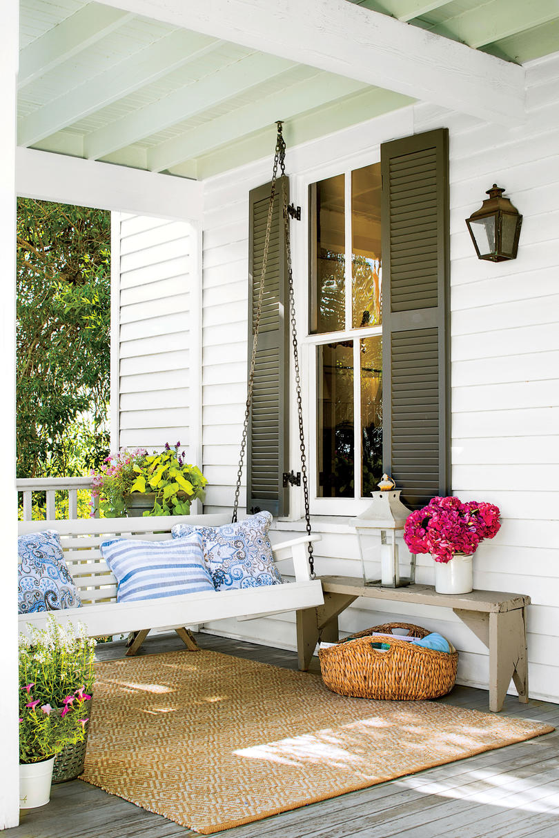 Porch with Green Shutters and Swing
