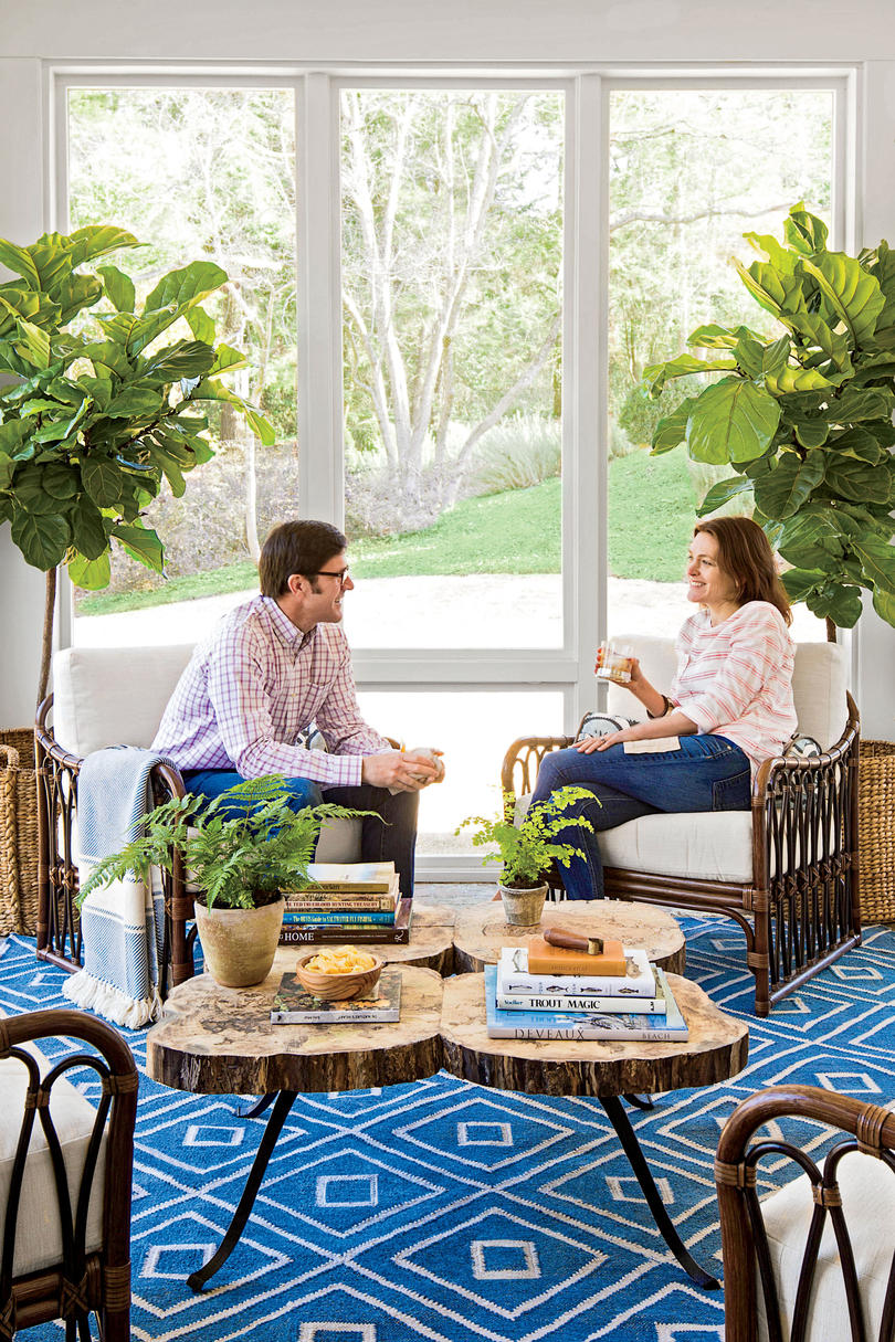 Cocktail Porch with Blue Rug