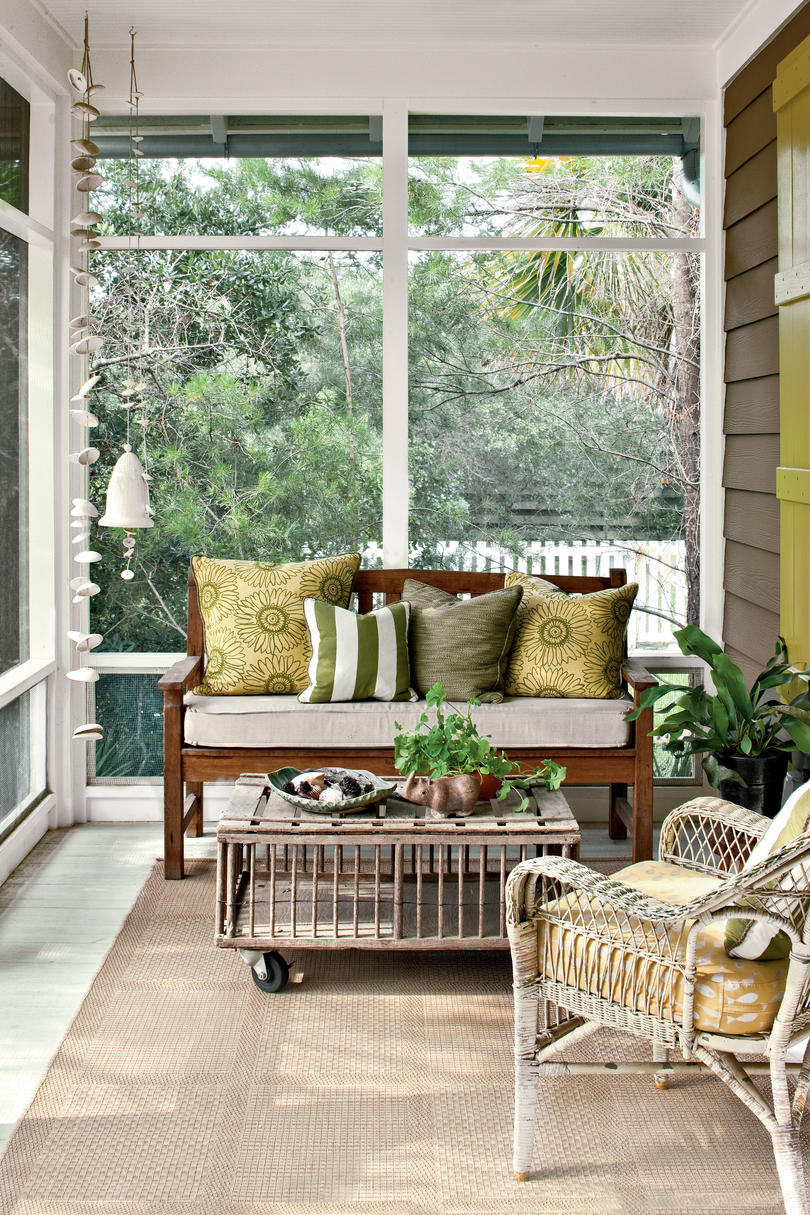 Green and Neutral Screened-In Porch