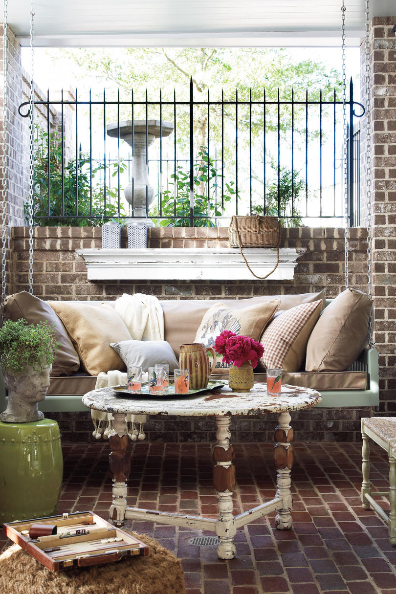 Brick Porch with Swing