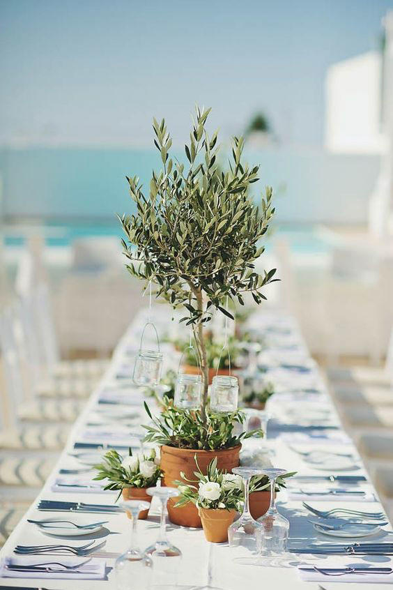 Potted Plant Wedding Tablescape