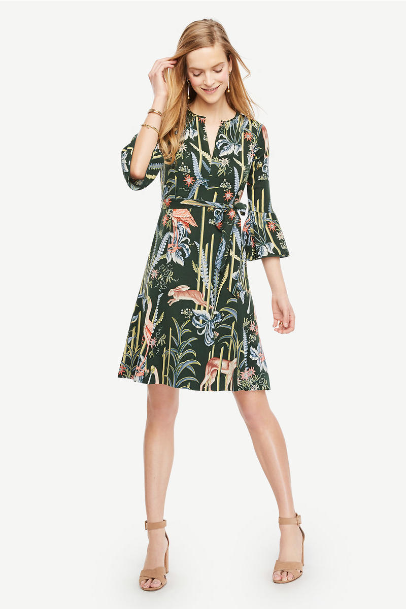Reed Garden Fluted Sleeve Dress