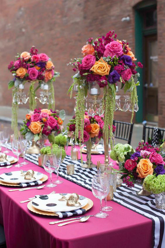 Stripes and Polka Dots Wedding Tablescape