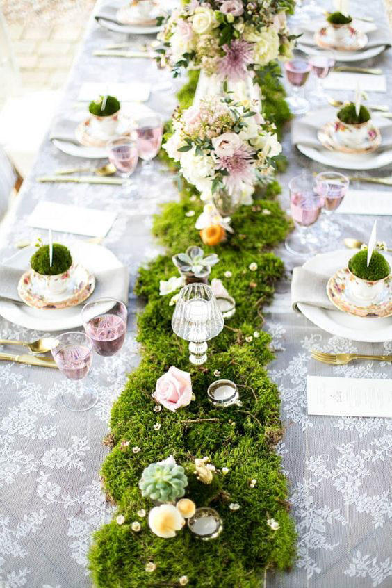 Teacup and Moss Wedding Tablescape
