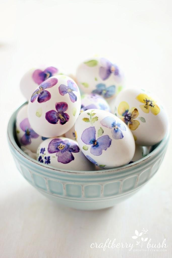 Pansie Watercolor Easter Eggs