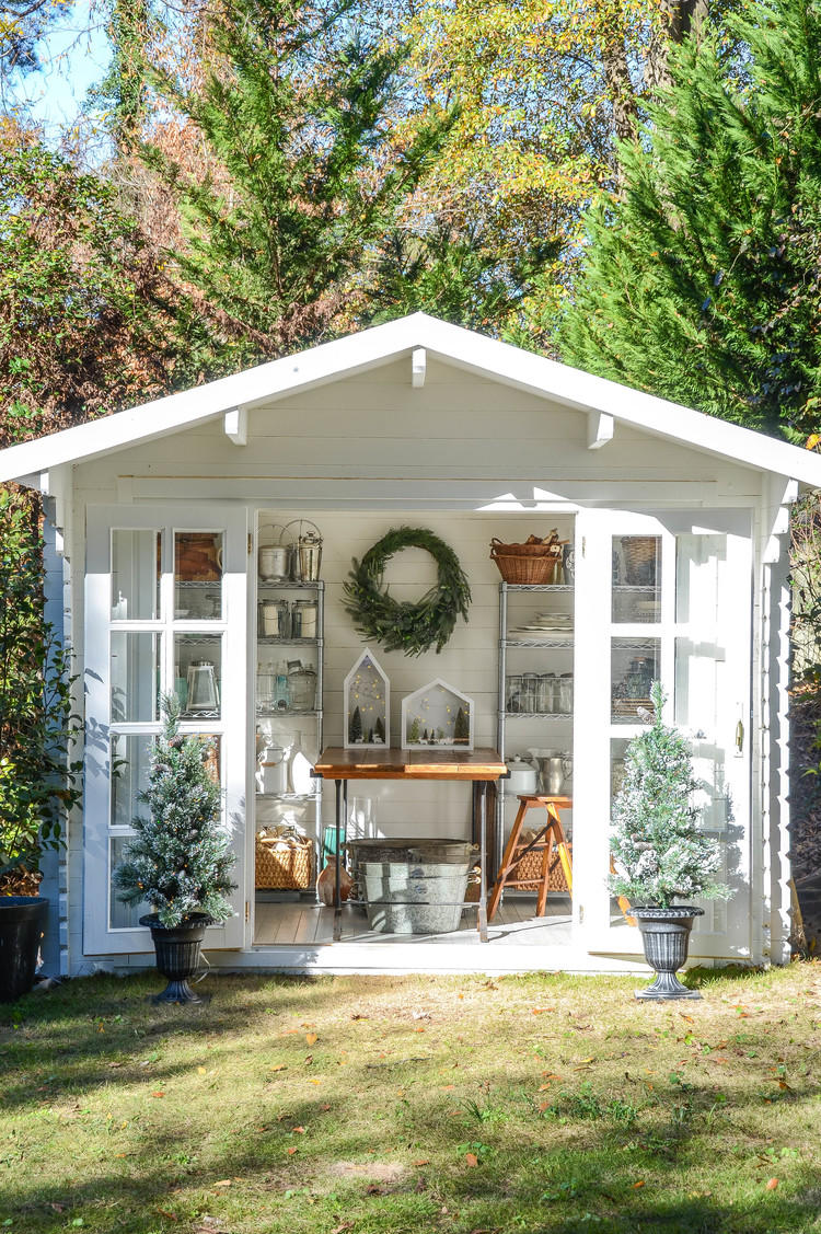 White French Door Shed