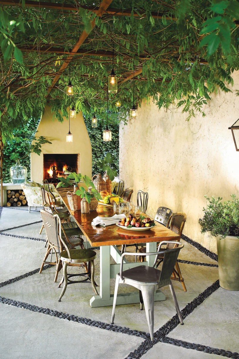 Iron and Greenery Pergola with Iron Dining Chairs